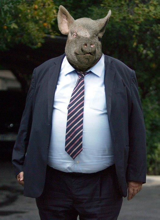 Το γουρούνι με την κοιλιά συμβολίζει τον τομαριστή νεοταξίτη